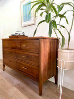 Mid-Century Six Drawer Dresser with Brass Pulls and Wood Top