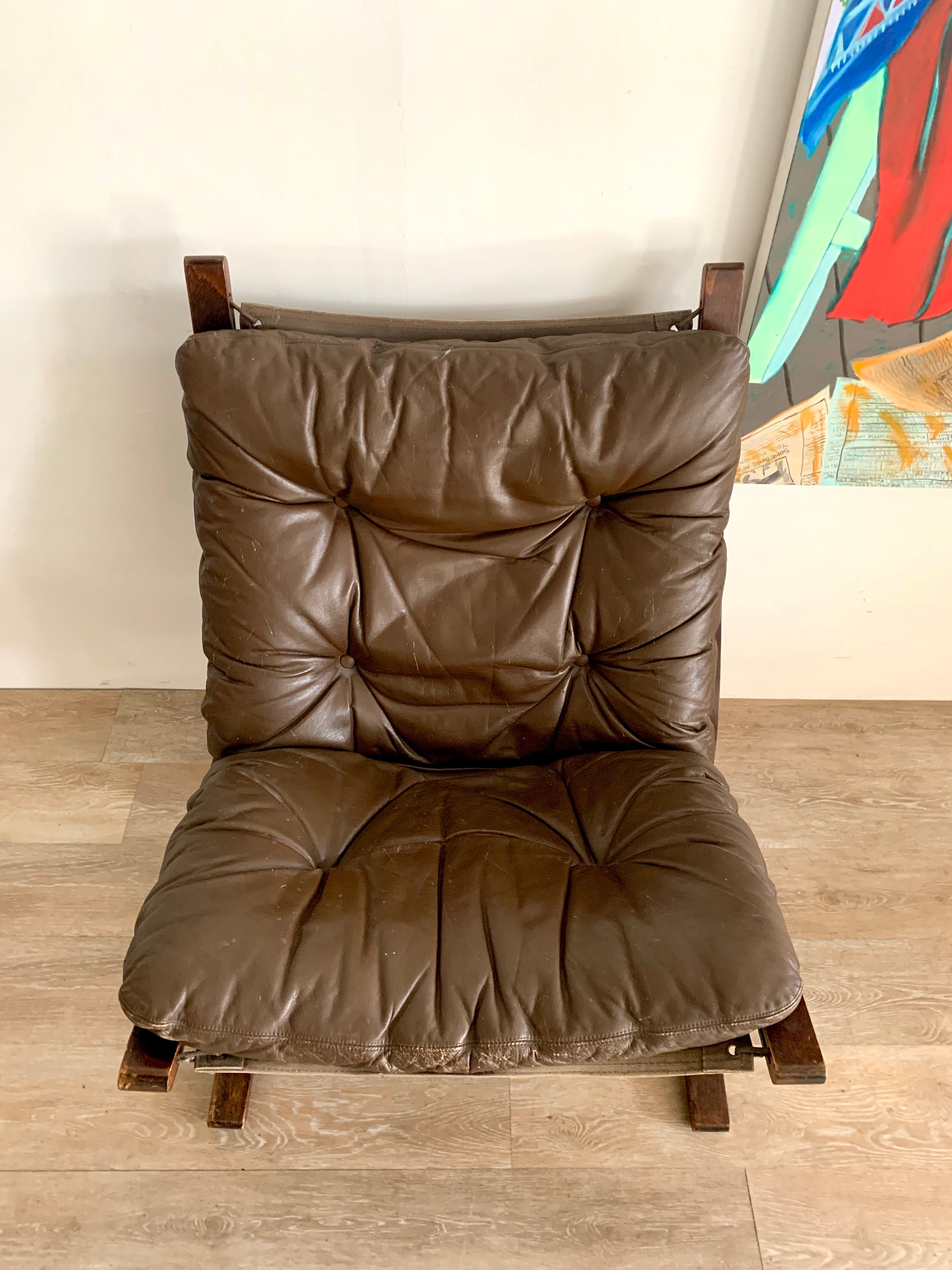 "Mid Century ""Siesta"" Chair by Westnofa in Leather"