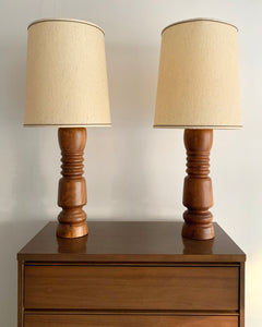 Pair of Turned Walnut Mid-Century Lamps