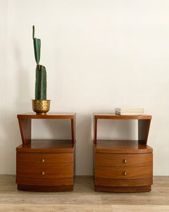 Pair of Mid-Century Nightstands with Brass Ring Pulls
