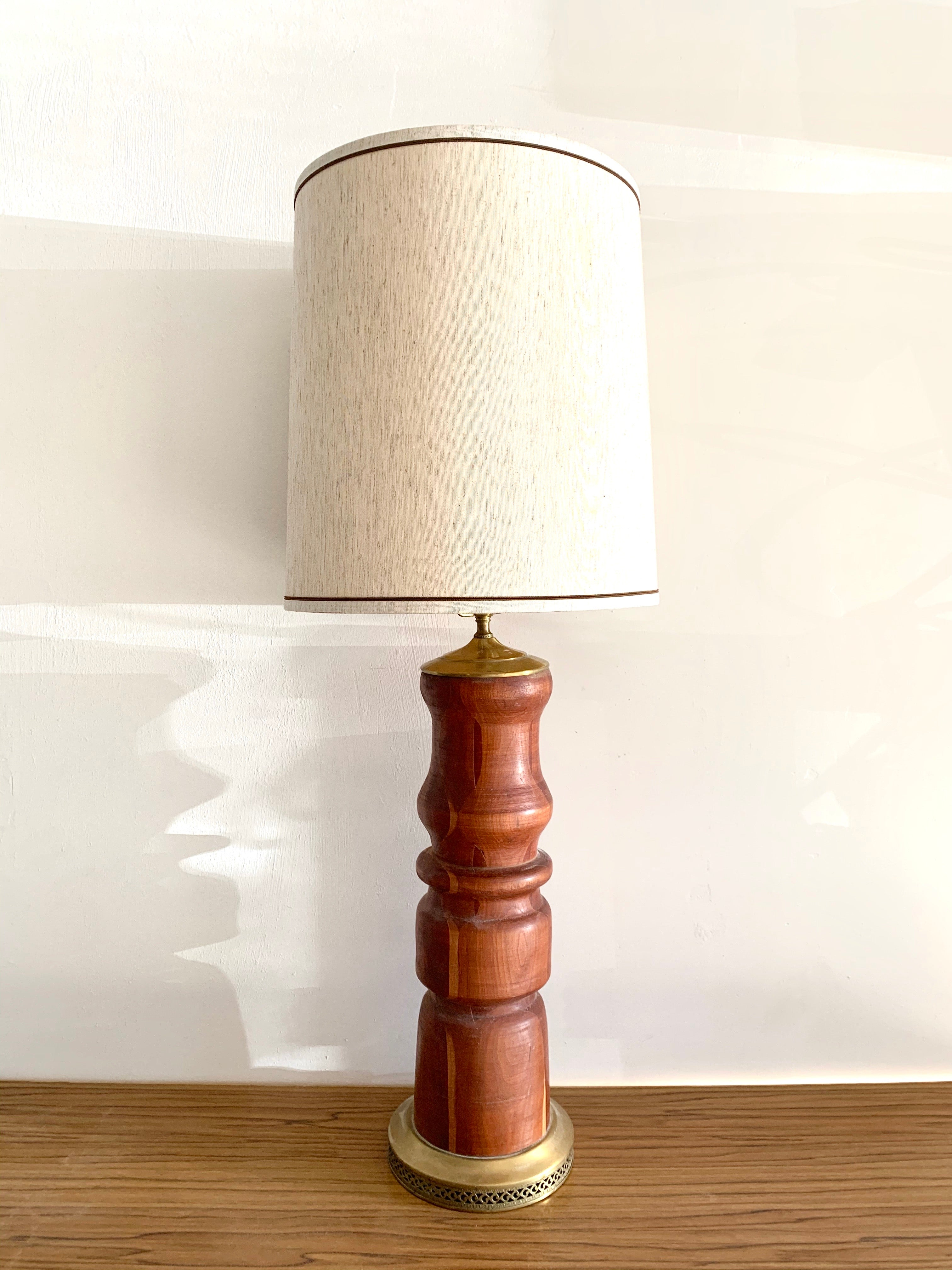 Vintage Turned Walnut Lamp