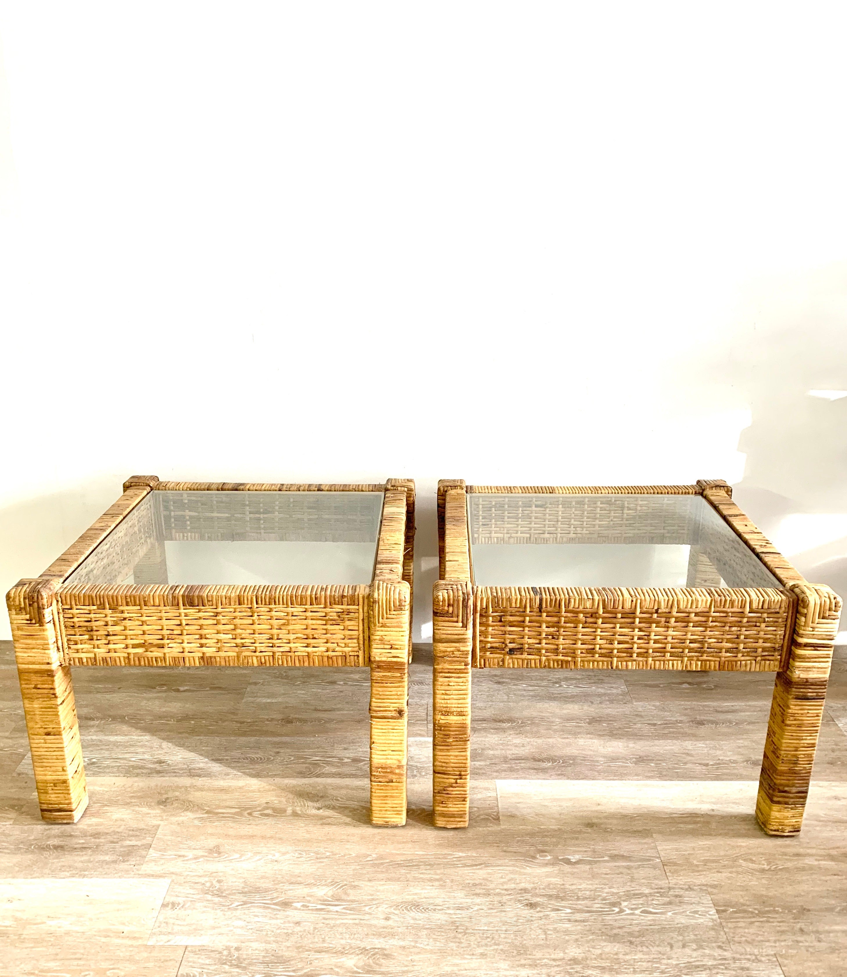 Pair of Vintage Cane End Tables / Night Stands