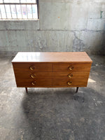 Mid Century Six Drawer Dresser with Circular Pulls