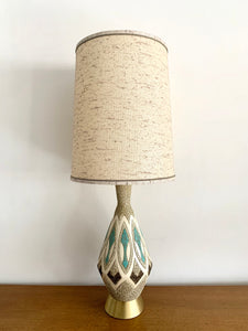 Mid Century Lamp in White, Teal & Brown