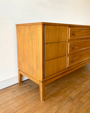 Mid-Century Dresser with Brass Pulls & Nine Drawers