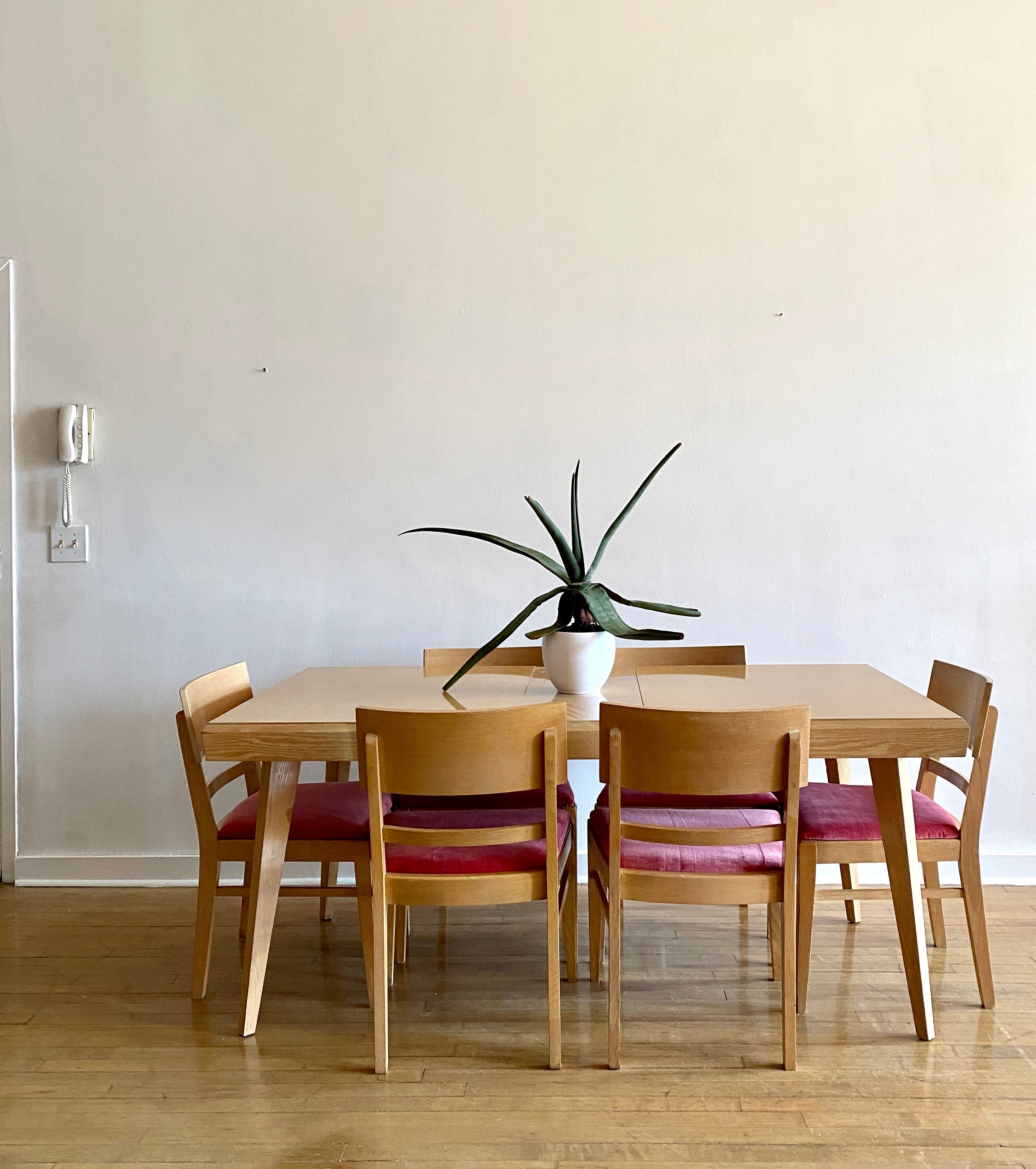Mid-Century Dining Set in New Vintage Blush Upholstery