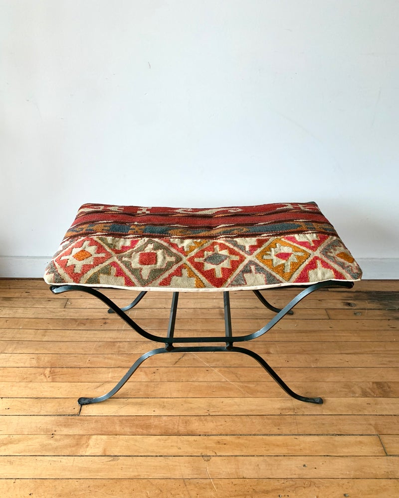 Vintage Ottoman with Vintage Flat Weave Cushion 2