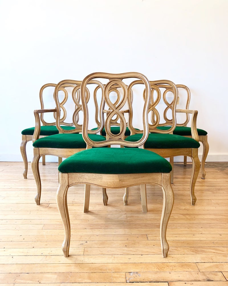 Set of Six Vintage Ribbon Back Chairs in Green Velvet