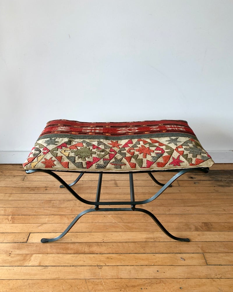 Vintage Ottoman with Vintage Flat Weave Cushion