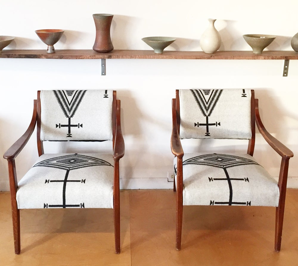 Mid-Century Chairs in Pendleton Wool