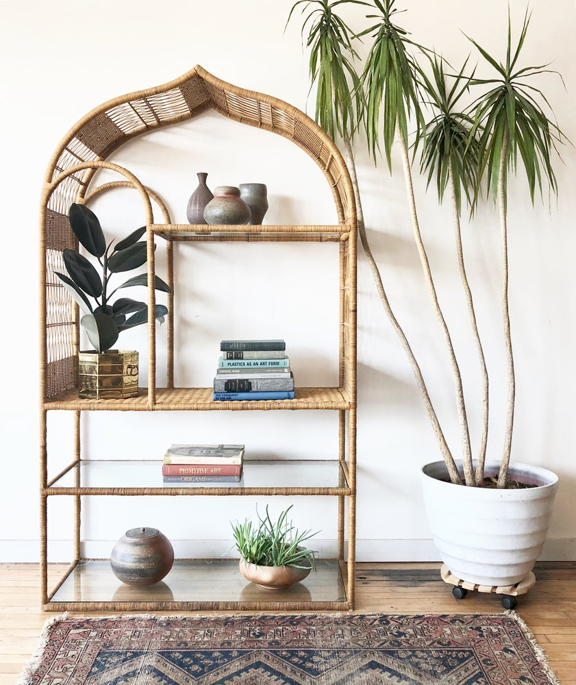 Moroccan Style Vintage Wicker and Glass Etagere