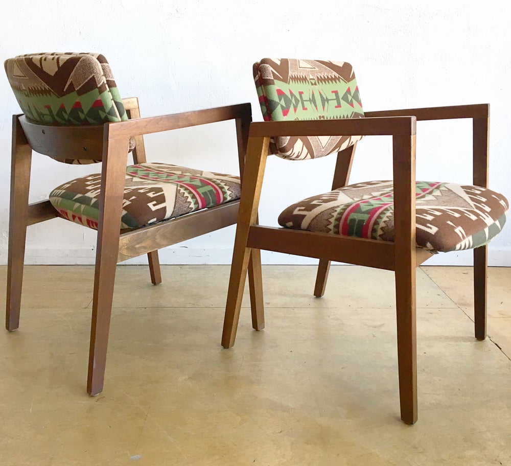 Mid-Century Arm Chairs in Pendleton Wool