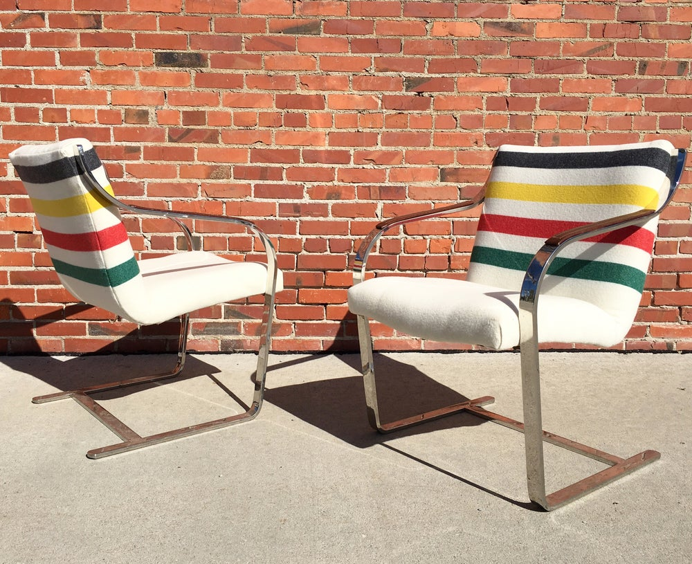 Pair of mid-century arm chairs in Pendleton wool