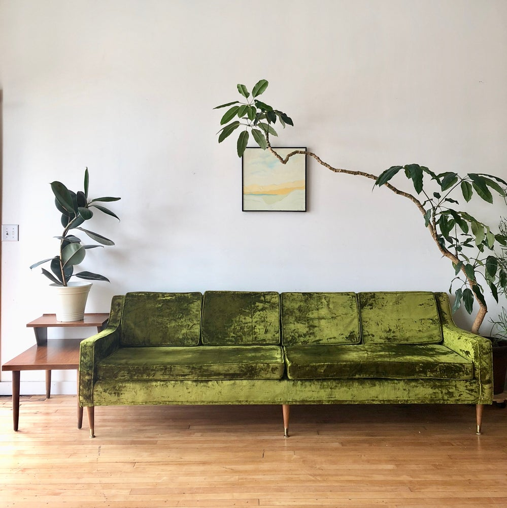 Mid-Century Crushed Velvet Sofa in Green