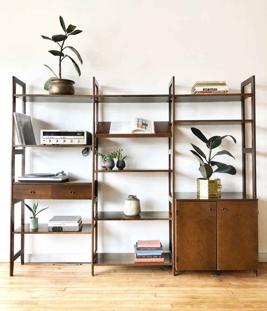 Mid-Century Wood Shelving Unit