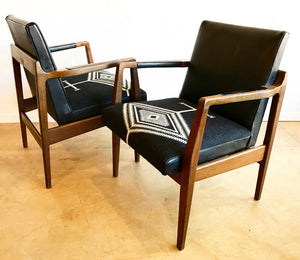Pair of Mid-Century Arm Chairs in Black Leather and Pendleton Wool