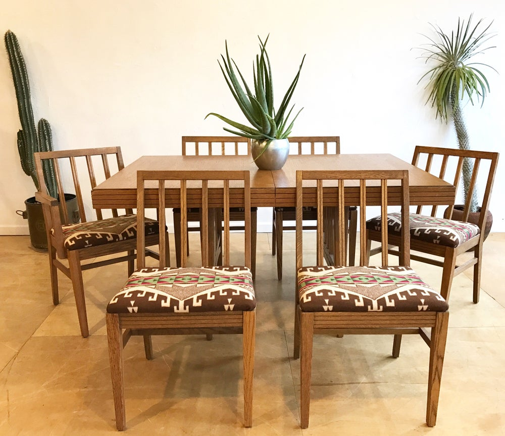 Mission Style Dining Set With Pendleton Wool Seats