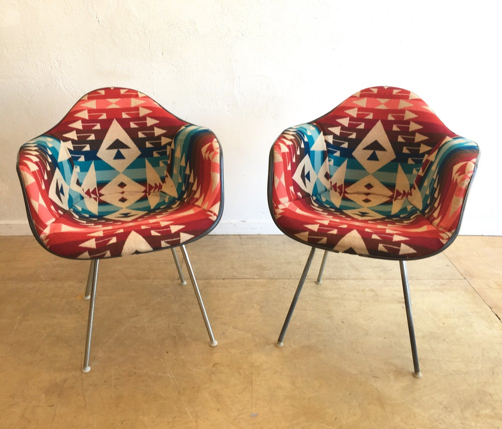Herman Miller Shell Chairs in Pendleton Wool