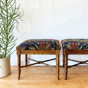 Pair of vintage ottomans in vintage Persian Shiraz Remnants