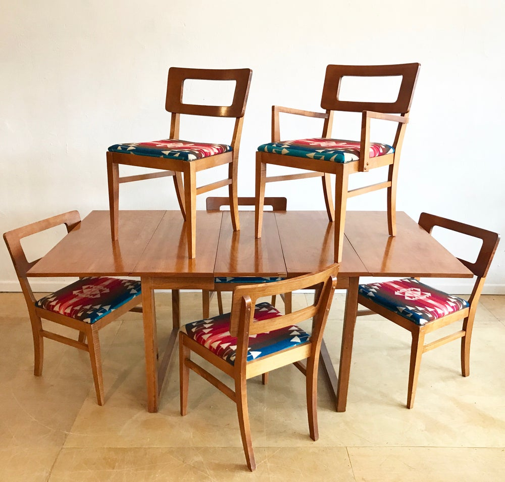 Mid-Century Dinning Set in Pendleton Wool