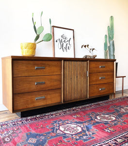 Long & Low Mid-Century Wood Top Credenza / Dresser
