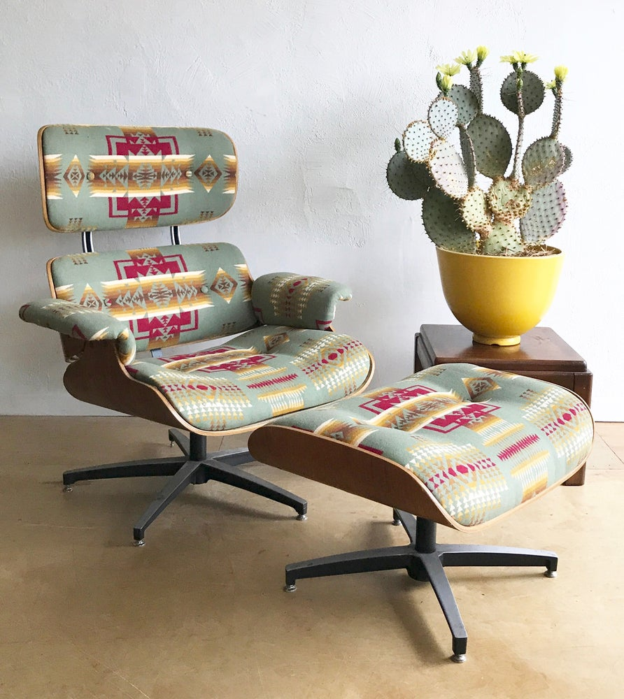 1960s Eames Style Lounge Chair & Ottoman by Plycraft in Pendleton Wool