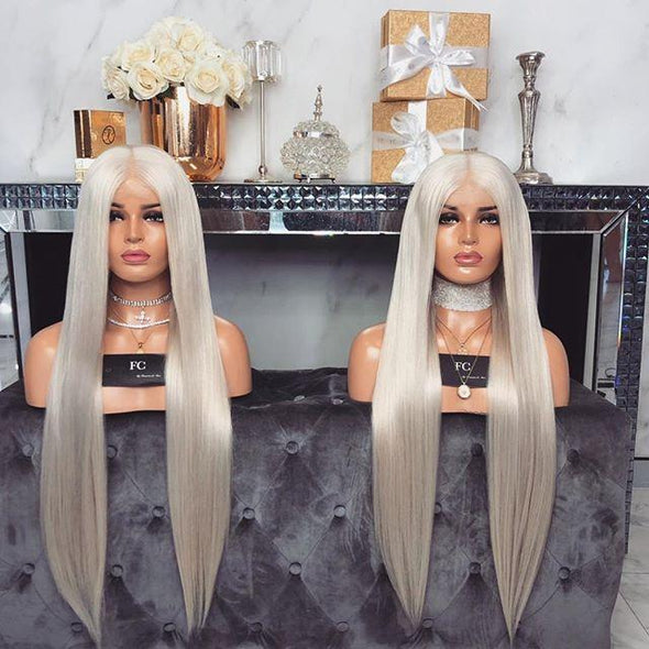 Long Silver Straight wig - satisionline