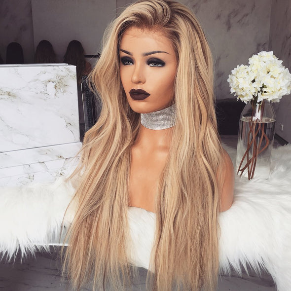 Gradient champagne wig - satisionline
