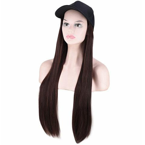 Dark brown straight cap wig - satisionline