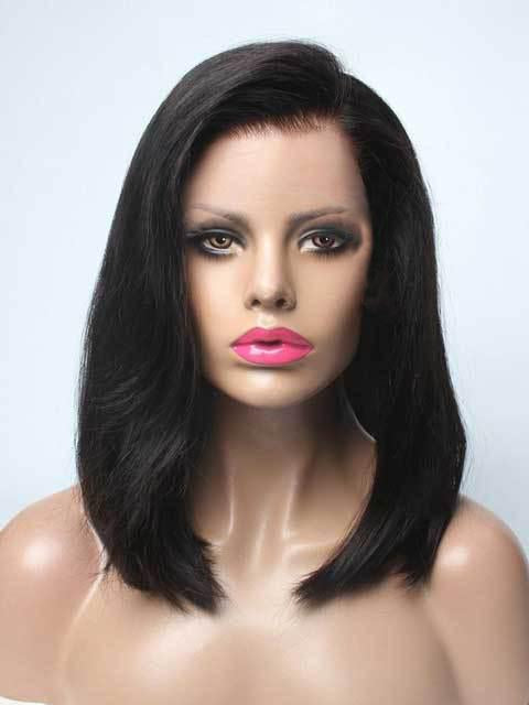 Black wig medium length casual bob cut - satisionline