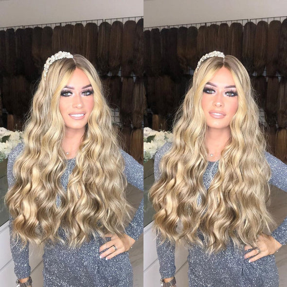 Shining bright blonde long wavy wig - satisionline