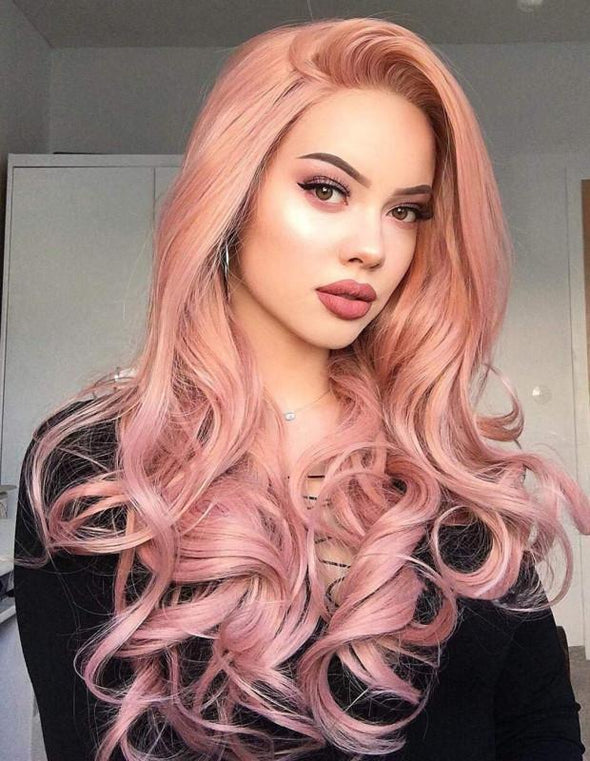 2019 Pink Long Curly Wig - satisionline