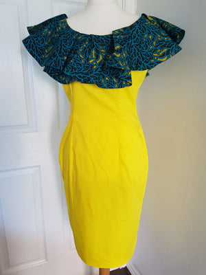 Ankara Ruffle Cape Midi dress