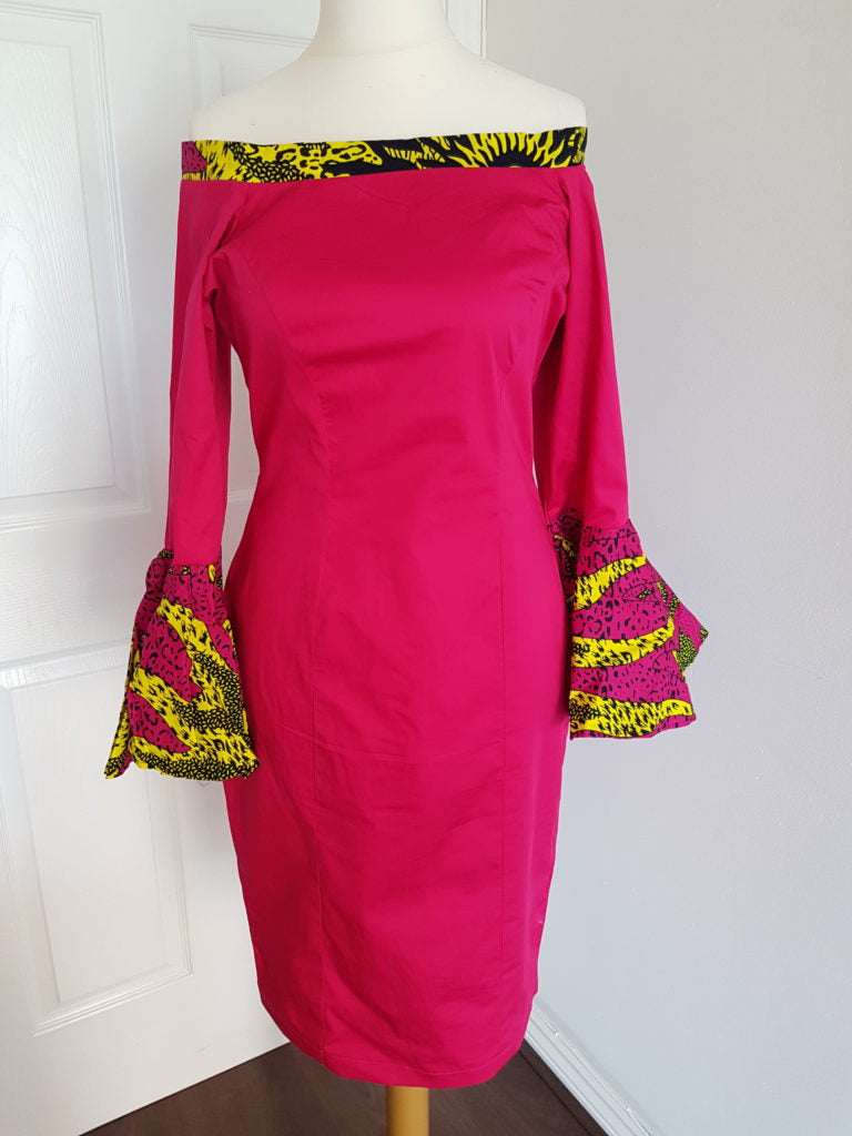 Fitted Bardot dress with Ankara Trimming