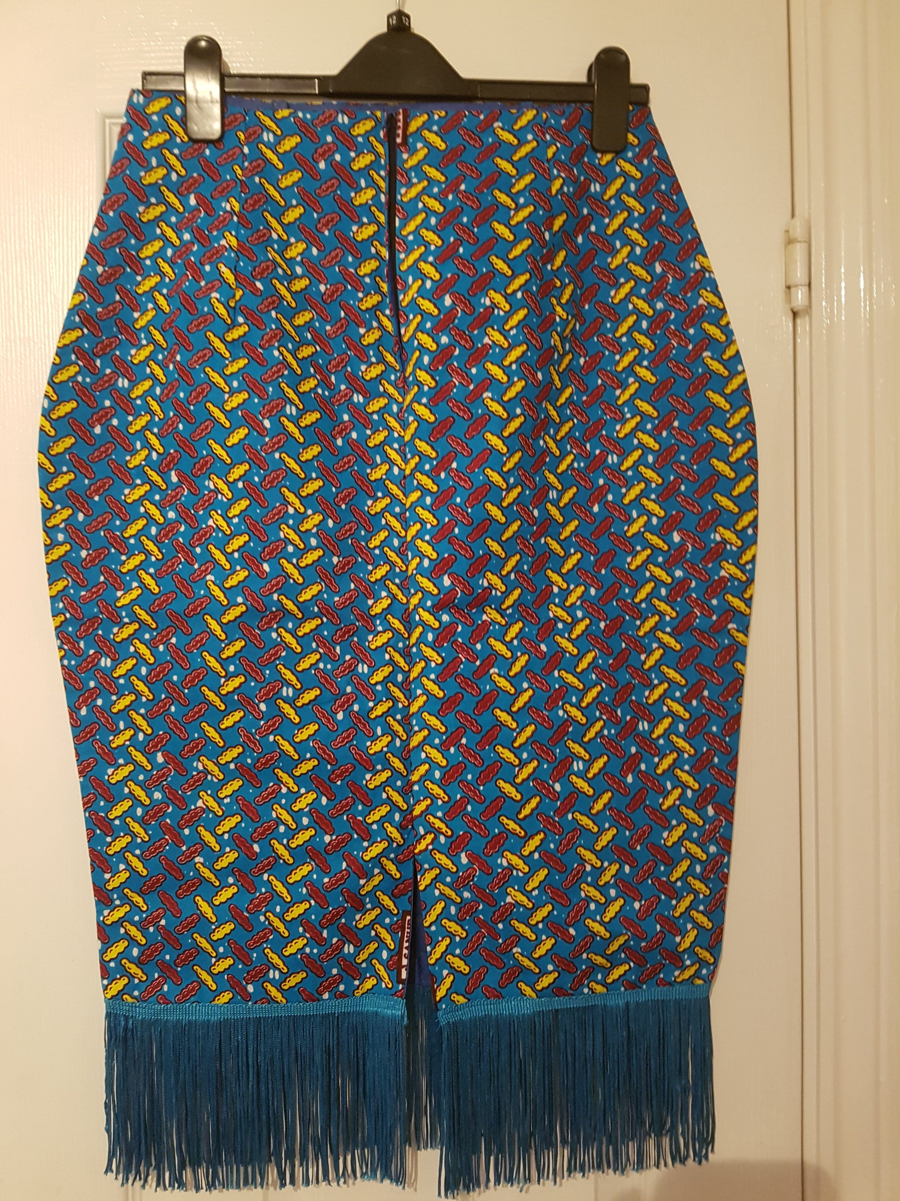 Ankara Pencil Skirt with Blue Trim