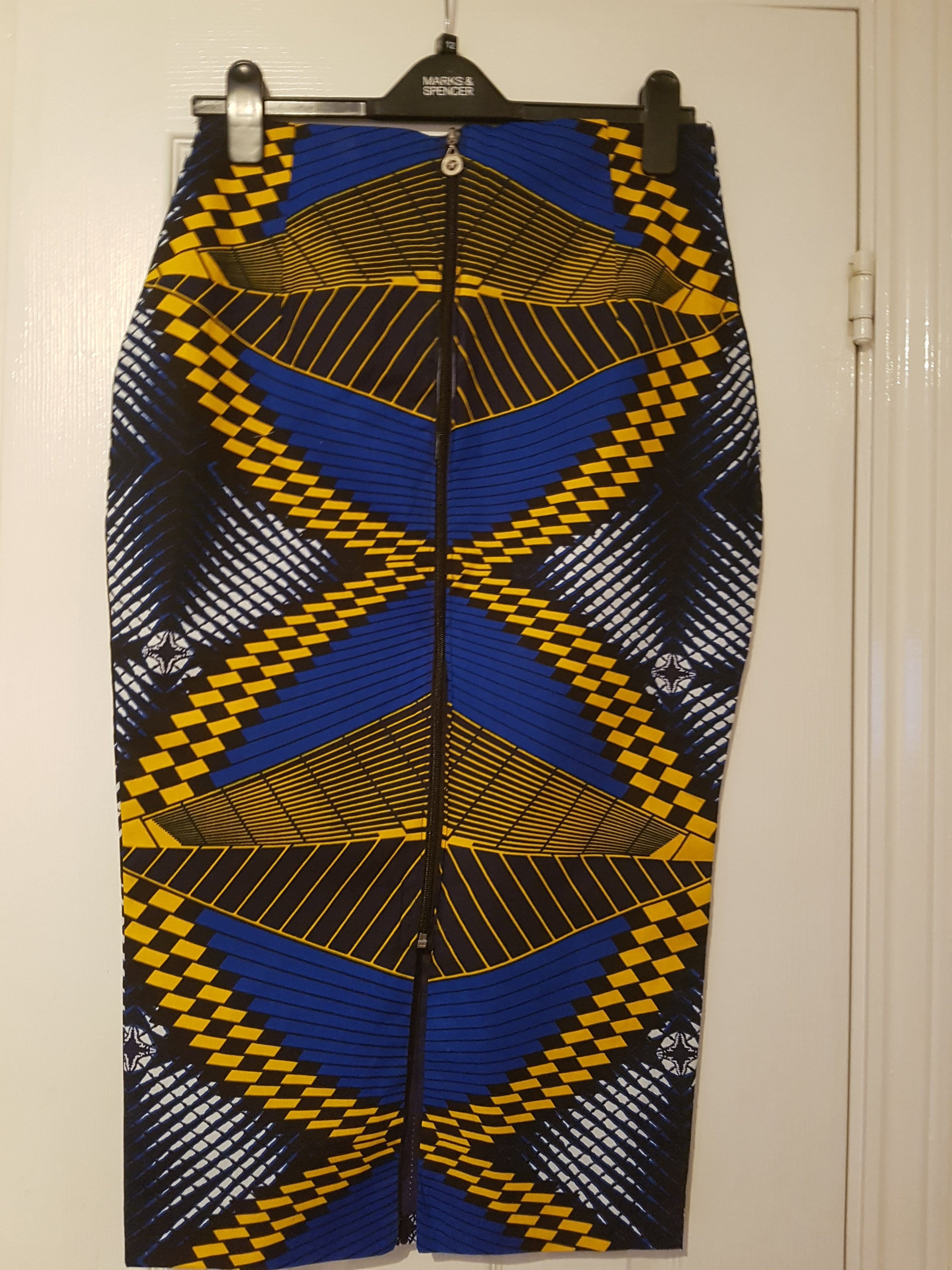 Ankara Pencil Skirt - Dark Blue tone