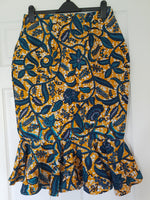 Ankara Pencil Skirt with Peplum Hem - Blue leaf