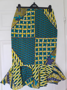 Ankara Pencil Skirt with Peplum Hem - Yellow/Turquoise