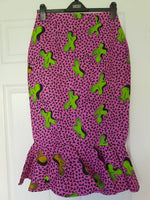 Ankara Pencil Skirt with Peplum Hem - Pink/Lime