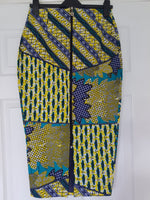 Ankara Pencil Skirt - green tone