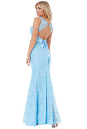 Open Back Lace Maxi Dress with Ribbon Tie - Powder Blue