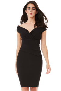 Bardot Pleated Midi Dress - Black