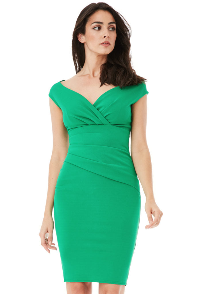 Bardot Pleated Midi Dress – Jade