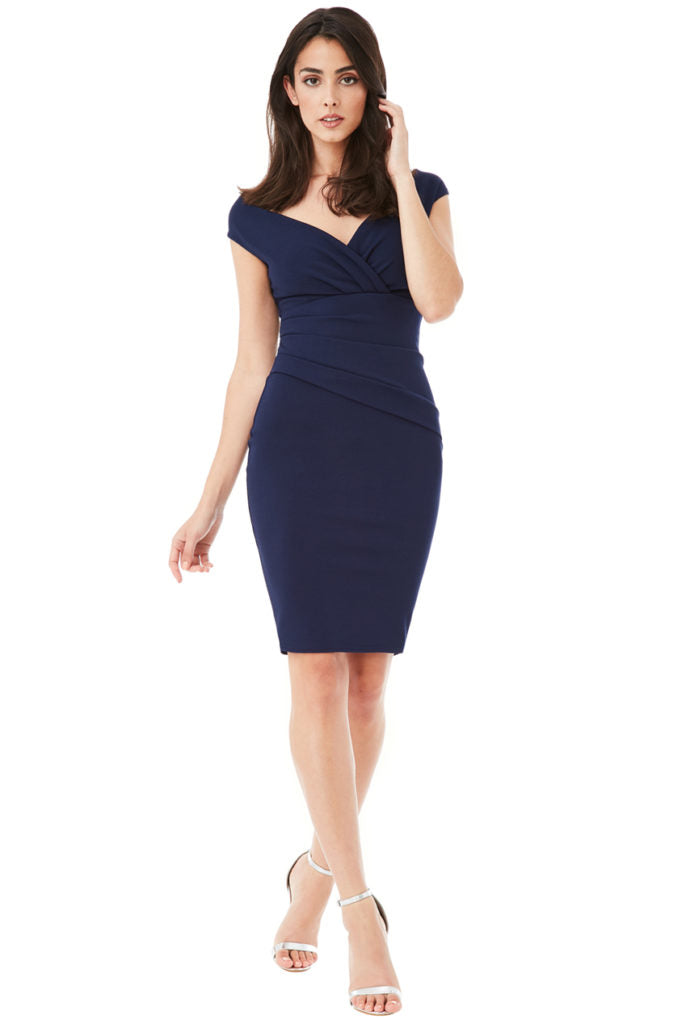 Bardot Pleated Midi Dress - Navy