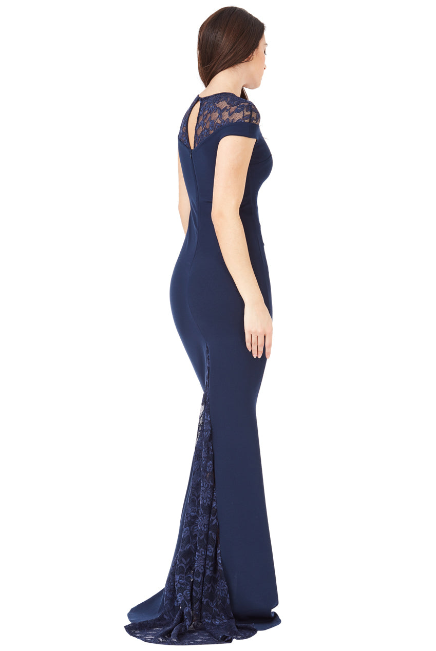 Pleated Maxi Dress with Lace Detail - Navy