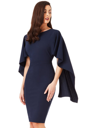 Open Back Midi Dress with Waterfall Sleeves - Navy