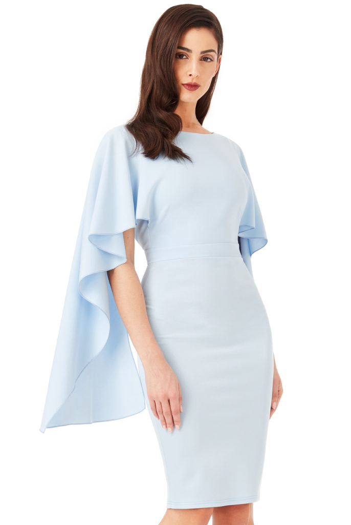 Open Back Midi Dress with Waterfall Sleeves - Powder Blue