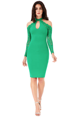 Halter Neck Cut Out Midi Dress with Lace Sleeves - Jade