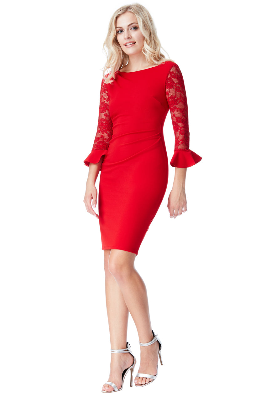 Pleated Midi Dress with Lace Frill Sleeves - Red