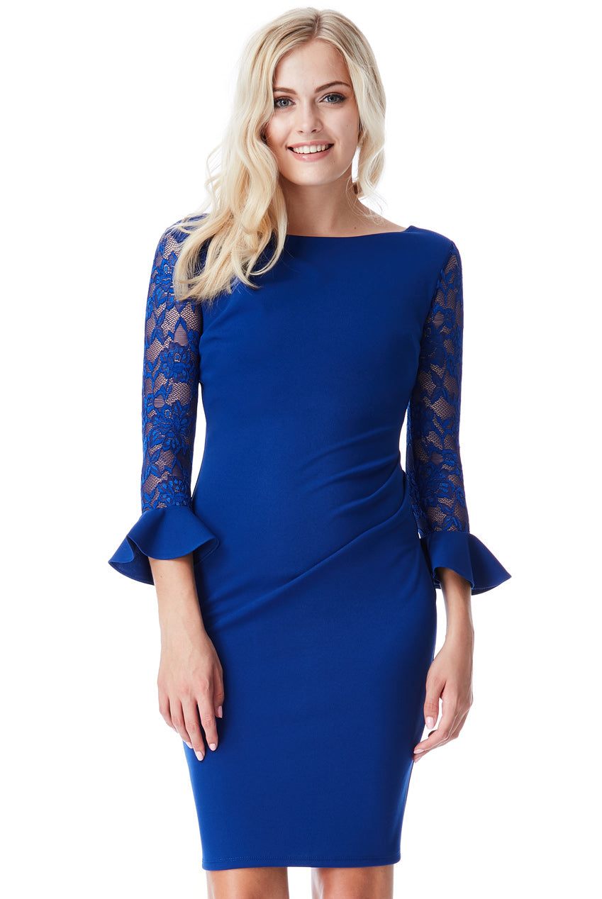 Pleated Midi Dress with Lace Frill Sleeves - Royal Blue